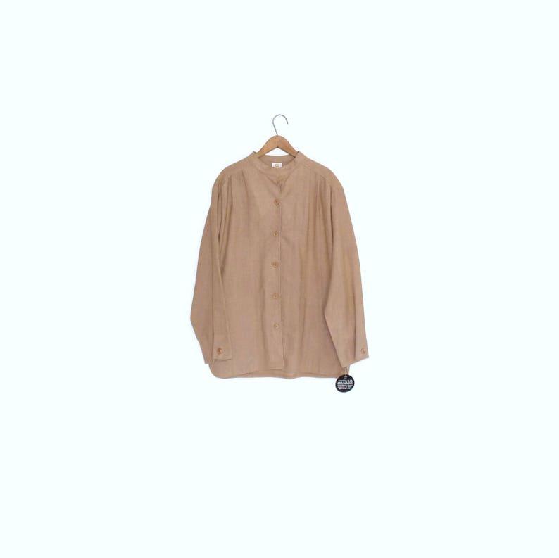 c5426611 Burlap work shirt Vintage coffee brown button down blouse | Etsy