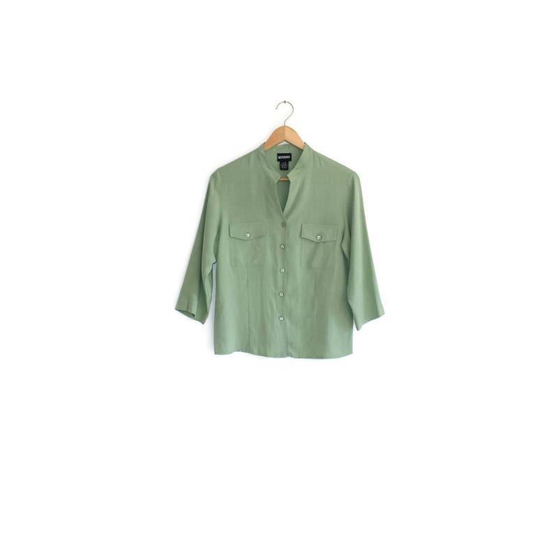bb73d7ad253 Minimalist sage Silk career blouse / Soft natural fiber nehru   Etsy