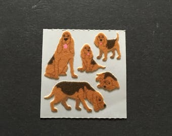 Sandylion vintage rare fuzzy blood hound stickers