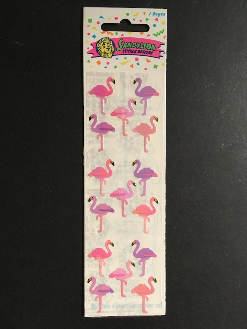 Sandylion vintage rare shiny flamingo sticker strip
