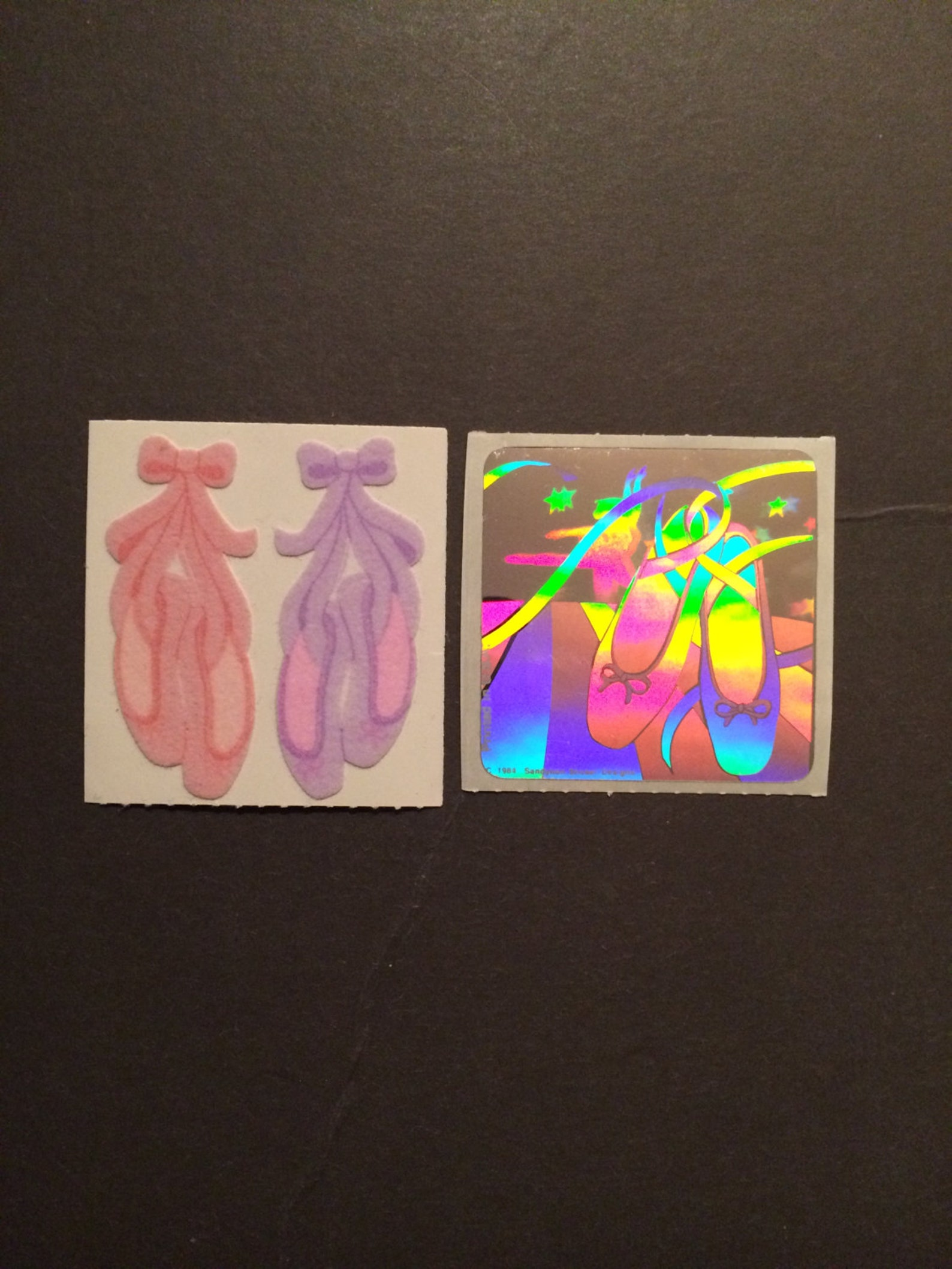 sandylion vintage 80s fuzzy and shiny/hologram ballet shoe stickers