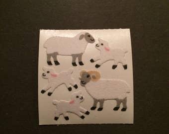 Sandylion vintage rare fuzzy sheep stickers