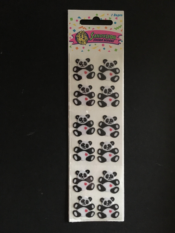 Sandylion vintage rare fuzzy pandas with hearts sticker strip