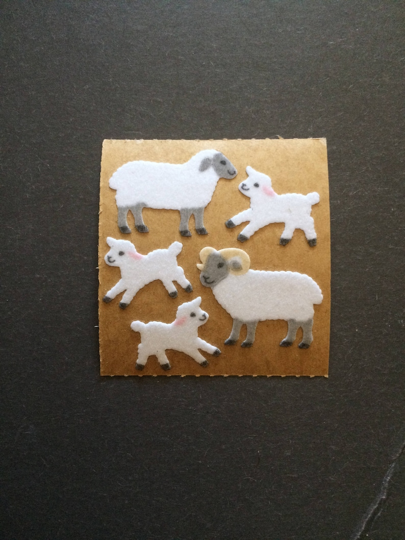 Sandylion vintage 80s very rare fuzzy brown back sheep stickers