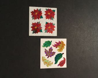 Sandylion vintage rare shiny poinsetta flowers and leafs