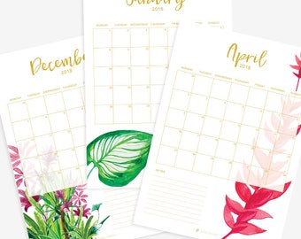 Printable Monthly Planner - 2018 - Water Coloured Tropical Leaves - A4
