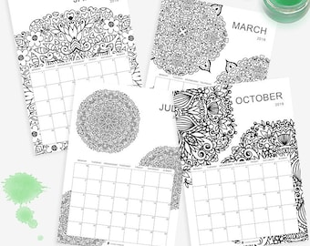Printable Monthly Planner - 2018 - Mandala Colouring - Perfect for creatives - A4