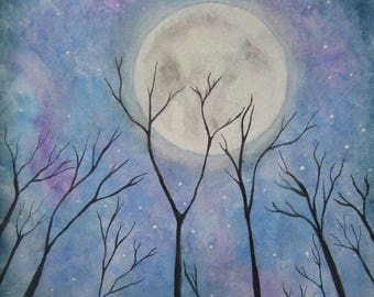 Night sky with moon print