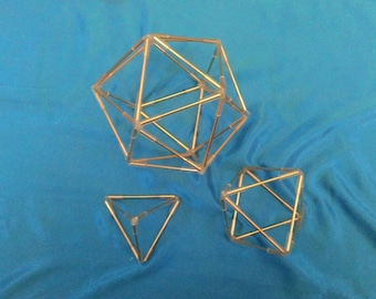 Set of three Polyhedra platonic solids in triangular faces.