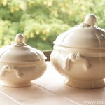 RESERVED for Ying: Lovely set of antique French ivory cream ironstone tureens plus cakestand, Saraguemines