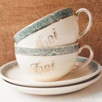 Sweet antique french cup and saucer wedding or engagement set in cream with green and gold, by Villeroy and Boch, earthenware