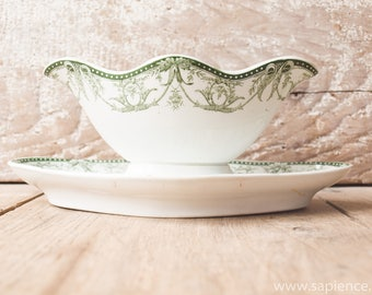 Antique French white with green decor 'La Ruche' ironstone gravy or sauce boat by st Amand
