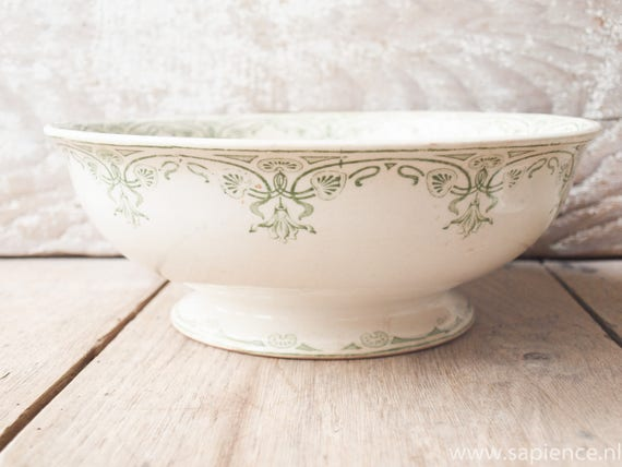 Antique French white with green decor 'Latham' fruit bowl or serving dish ironstone by S.F.N.C.R.