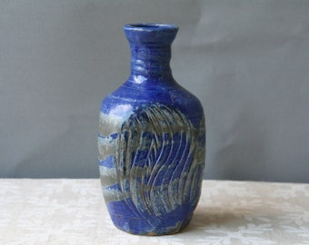 Vintage Studio Pottery Vase Blue Vase