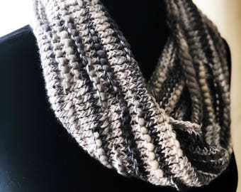 Silver Tone Knitted Cowl, Bamboo Bloom Hand-painted Yarn by @modtinker