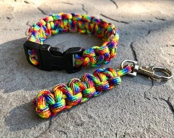 """7"""" Paracord Bracelet & 2"""" Keychain - Rainbow - Bug-OutBABY"""