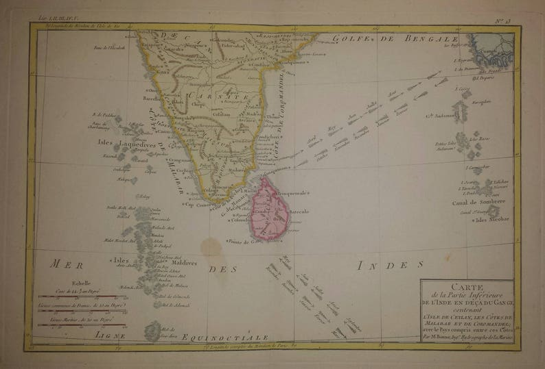 Carte De Linde Avec Le Gange.Southern India And Ceylon Sri Lanka Bonne C 1780 Etsy