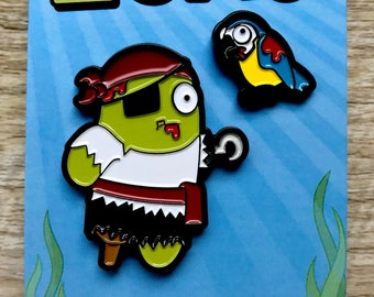 Zombie Pirate and Parrot Enamel Pin Set