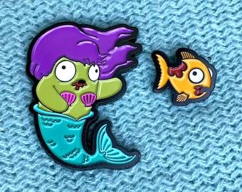 Zombie Mermaid & Fish Enamel Pin Set (Purple Hair)