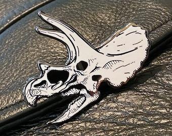 Triceratops Fossil Skull Hard Enamel Pin