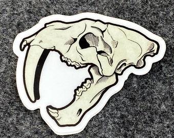 Smilodon Skull Vinyl Sticker