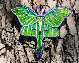 """Luna Moth embroidered punk patch, Full Moon, 4""""wide, Moth Patch, Light Green"""