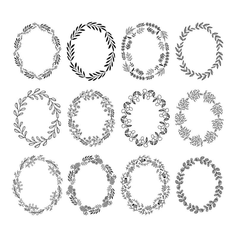 Set of 12 oval wreaths clipart  Flourish  Svg  Dxf  Png  Jpg  Eps