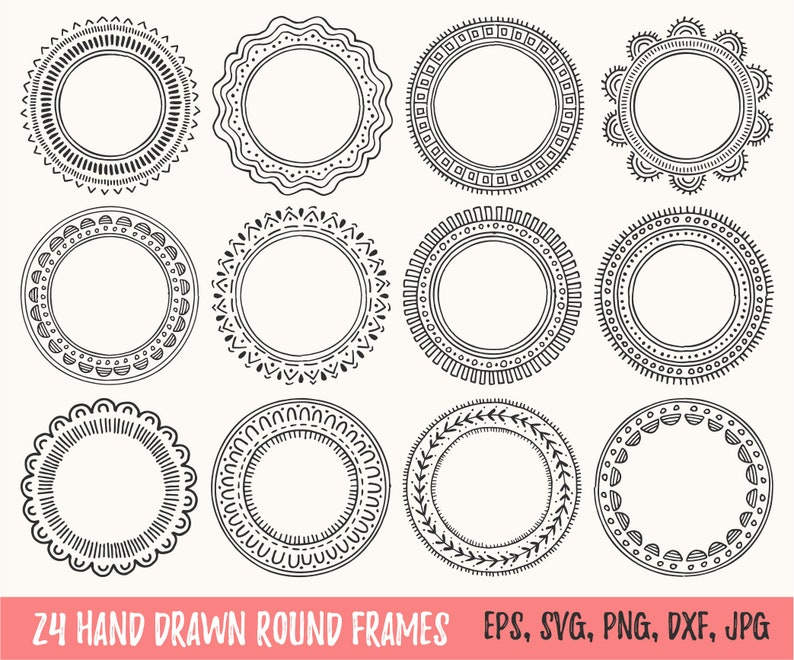 24 Hand Drawn Circle Frames For Monogram Design Round Elegant Etsy