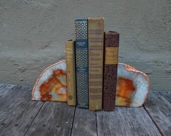 Copper PlatedNatural Agate Bookends