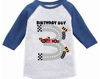 Birthday Boy Race Car Toddler Raglan Boys Jersey Shirt 3rd Party For Gifts 3 Year Old