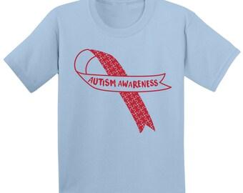 60fc62126 Autism Awareness Red Ribbon Toddler Shirt Autism Awareness Gifts Autism  Shirts for Toddlers Autism Kids Shirt Autism Support Ribbon Shirt