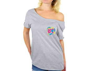 afd691676a4 Totally 80 s Pocket Off Shoulder T Shirt 80s Retro Shirts for Women 80 s  Costume Tops 80s Retro Party Outfit 80 s Baggy Tshirt Tops for Her
