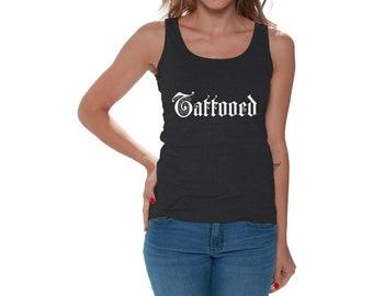 8759c8a0c15e9 Tattooed Tank Top for Women. Inked Shirt. Women s Tattoo Tank Top.