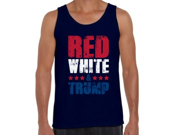 1f2044ae069b00 Red White   Trump Tank Top for Men Trump Gifts for Him American Flag Tank  Top USA Tank for Men 4th of July Muscle Shirt USA Flag Tank Top