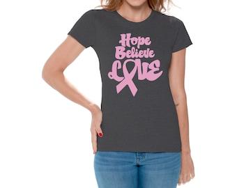 2c1dec2b5 Breast Cancer Awareness Rhinestone Think Pink Hope Believe Womens V Neck t- shirt Damenmode