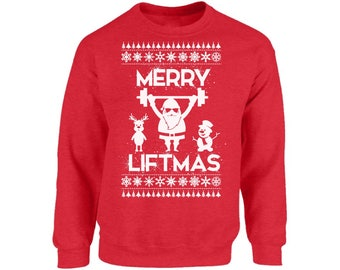 0ce72b21 Merry Liftmas Ugly Christmas Sweatshirt Santa Lifting Gifts Sweater for Men  and Women Funny Santa Christmas Sweater Party for Men and Women
