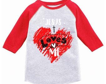 83b4f51ac Jesus Loves Me Toddler Raglan. Jesus Shirts for Kids. Religious Baseball  Tshirts.