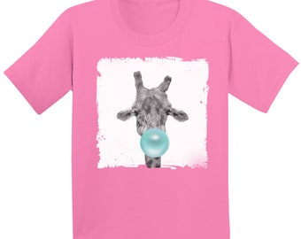 5b290d85 Giraffe Blowing Gum Shirt. Animal Youth Shirt. Animal Lovers Clothing. Giraffe  T Shirt for Children. Giraffe Youth Tshirt. Kids Gifts.