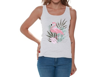 Sleeveless Tanks Top T-Shirt Fit Mens Flamingo Sunset Flower