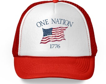 4da1bb8c4718e USA Flag Hat. American Trucker Hat. One Nation 1776 Proud American Gifts.  July 4th Party Supply Accessory Beach Bbq