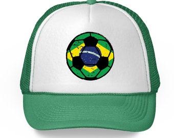 ac0dca5045c Brazil Soccer Ball Hat Brazil Soccer 2018 Trucker Hat Gifts from Brazil  Brazilian Baseball Hats Brazil Football Hat Amazing Brazilian Gifts