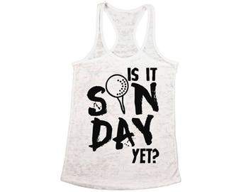 4f490a9fdea1f Is It Sunday Yet Golf Burnout Racerback Tank Tops for Workout Fitness Tank  Top Golf Gifts Team Sports Golf Lover Perfect for Gym and Yoga