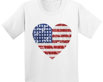 USA Flag Youth Kids T shirt Tops American Flag Patriotic 4th of July