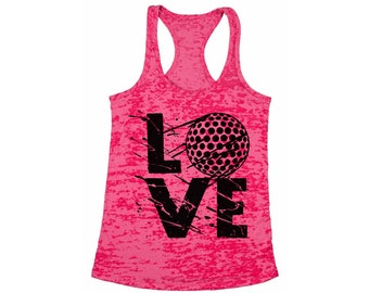 f0eb66ea5cb52 LOVE Golf Burnout Racerback Tank Tops for Workout Fitness Tank Top Golf  Player Gift Golfing Golfer Fun Graphic Sports Perfect for Gym and Yo