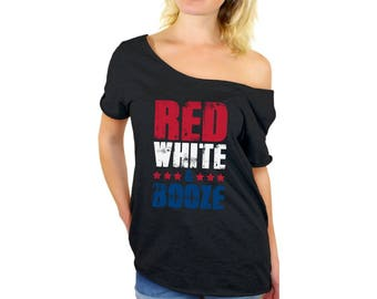 Red White And Booze Off Shoulder Tops T shirt Off shoulder shirt for women USA Flag 4th Of July Party Independence Day USA