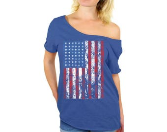 USA Distressed American Flag Off Shoulder Tops T shirts USA Off The Shoulder Shirts  USA Flag shirt 4th of July shirt