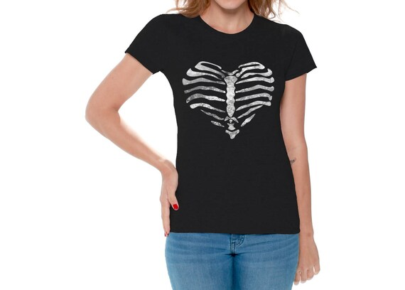 Tête Mort T Pour Coeur De Shirts Thoracique Tops Femmes Cage Etsy R5XrXq1wx