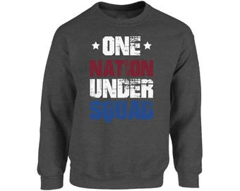 USA One Nation Under Squad Crewneck USA Sweatshirts Tops Fourth of July Red White Blue Patriotic
