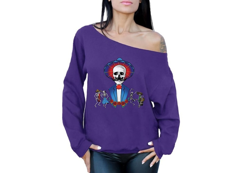 Sweatshirts Off Shoulder Mustache Skull Day of the Dead Tops Gifts