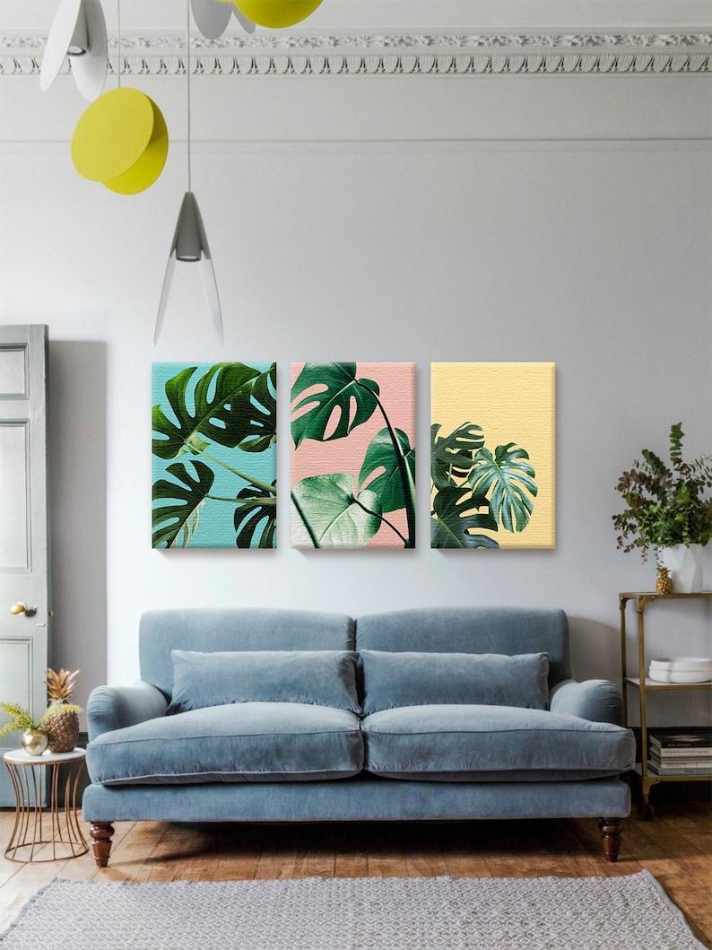 Foliage Set of 3. Colorful Canvas Art. Canvas Wall Decor. image 0